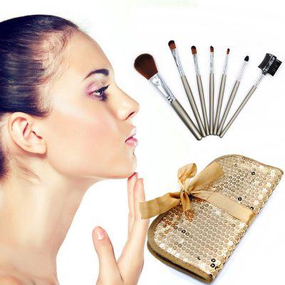 kainuoa/凯诺工厂批发7支化妆刷套装 亮片包化妆工具招代理