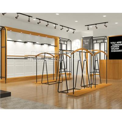供应女装展示架铁木结合终端设计