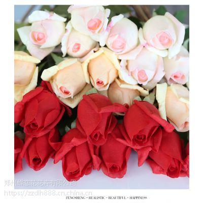 蝶恋花家居装饰客厅摆件仿真玫瑰花 情人节礼物 特惠手感保湿玫瑰花苞PU质感
