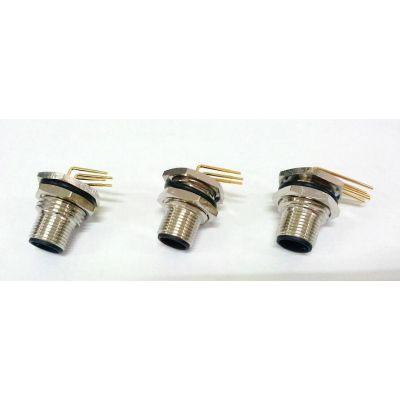 M12弯90°插座包胶式ZPG弯脚4芯5芯插头插座
