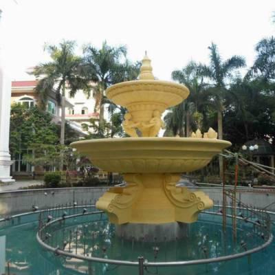 广场大型跌水盆艺宇仿砂岩欧式喷泉 大型园林水景组合石雕树脂工艺品喷泉