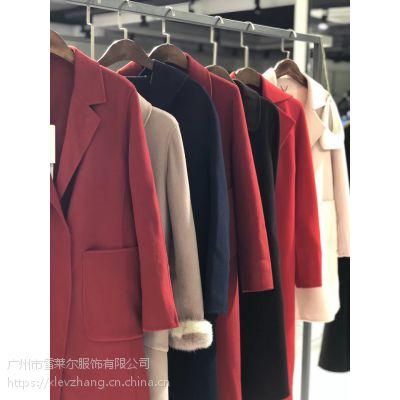 广州库存批发女装品牌慧之芳羊绒大衣双面呢大衣
