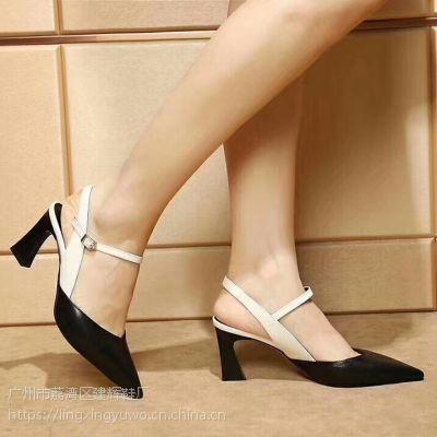 品牌女士尖头粗跟凉鞋 办公室黑白包头女鞋 夏季显瘦气质跟鞋批发