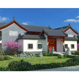 新余房子设计AT1795二层中式风格四合院仿古别墅建筑设计全套图纸29.1mX27.9m
