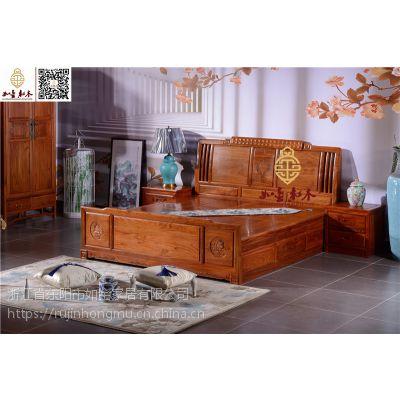 东阳红木大床供应-如金红木大床-古典中式卧室家具