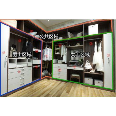 诗尼曼月亮宝盒衣帽间,男女分区,收纳清晰,板式多功能衣帽间