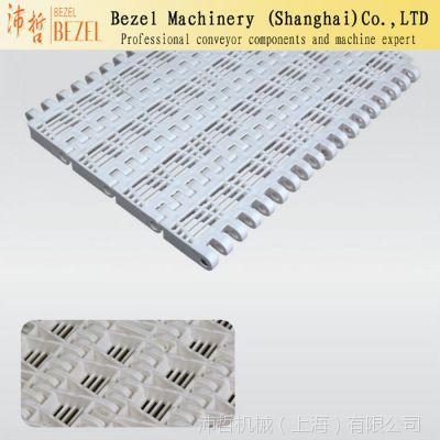 供应100型开孔型带挡板网链 节距50.8模块网带 OPB清洗平板网链