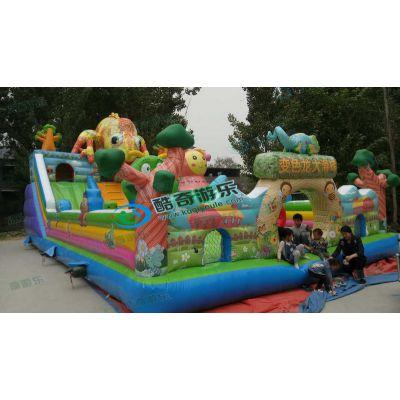 新年新款变色龙儿童充气滑梯玩具