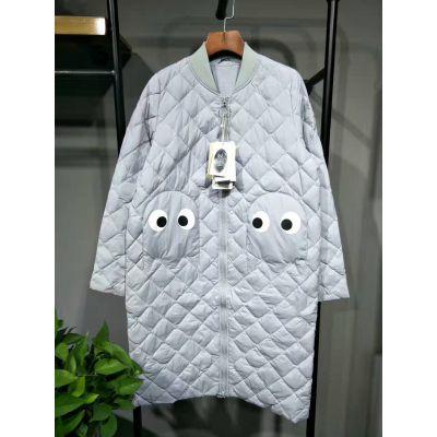 广州伊曼服饰白鸭绒女式羽绒服批发 当季中长款带帽带毛领女士羽绒服供应