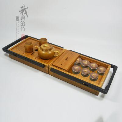 厂家批发定制天然竹盒竹包装盒旅行茶具干泡茶盘收纳竹盒一体两用