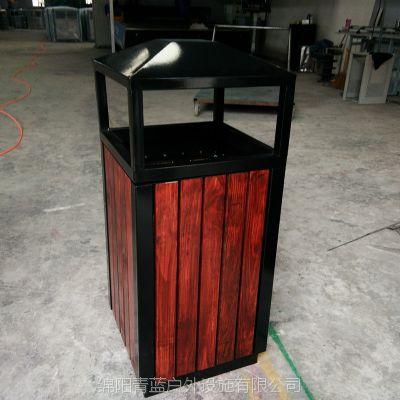 钢木单筒果皮箱 多色可定 锥形四投口果壳箱 商业区垃圾筒 青蓝现货供应