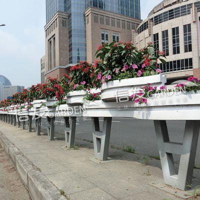 隔离带隔离栏花箱 花盆 pvc材质市政工程 创意飘带花箱