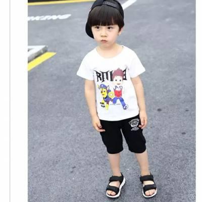 外贸原单童装尾货童短袖t恤套装 厂家库存特价清仓处理便宜童套装
