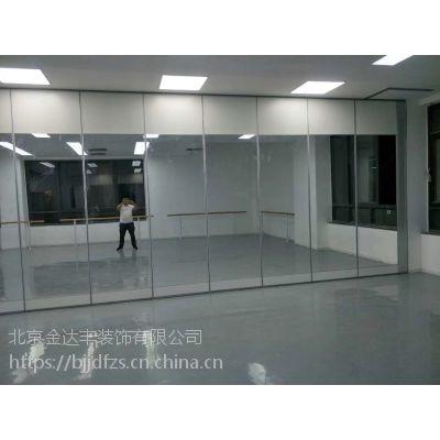 舞蹈室镜面玻璃隔断墙瑜伽室移动折叠门办公室透明活动屏风隔墙板