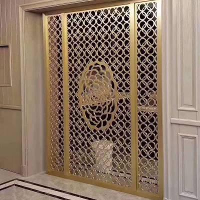 古铜色纯铜雕刻屏风,铜板镂空花格越来越多人使用