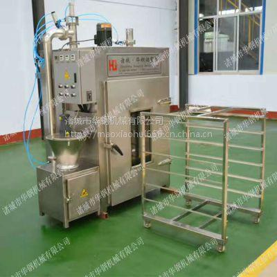 一炉20分钟大产量的半自动电加热熏鸡熏炉,华钢50kg环保型无烟熏鸡设备功能