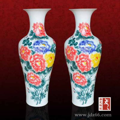 供应陶瓷大花瓶,中国红大花瓶, 景德镇青花瓷大花瓶