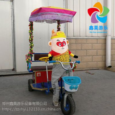 新款动物拉车电动车 广场彩灯遥控玩具车 双人机器人拉车