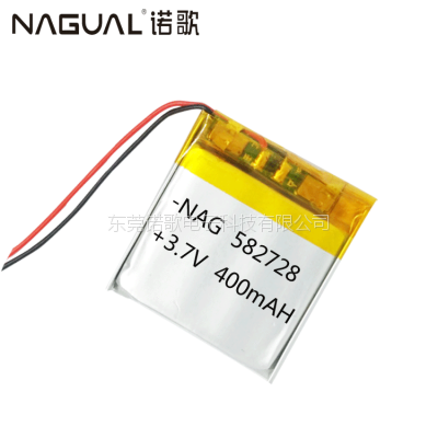 582728聚合物锂电池 400毫安 儿童手表智能穿戴电池 锂电池蓝牙耳机音箱电池
