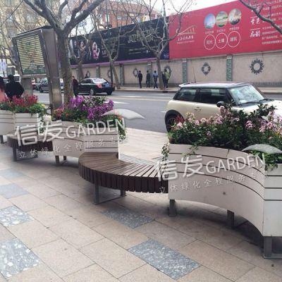 弧形座椅花箱 道路隔离栏防护栏组合花箱 pvc材质经久耐用