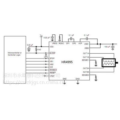 HR4995(内置转换器和过流保护的微特步进电机驱动芯片)