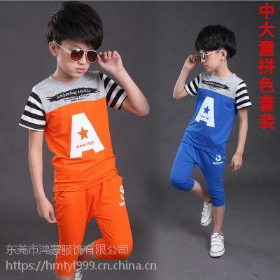 供应工厂直销便宜时尚新款热销韩版夏季童装套装的服装3qbb/三优贝贝货源批发