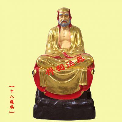 寺院十八罗汉佛像图片 贴金彩绘十八尊者佛像 找温州禅相法器塑造
