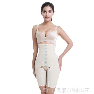 外贸货源性感4排扣橡胶束身衣 提臀收腹束腰无肩带连体开档塑身衣