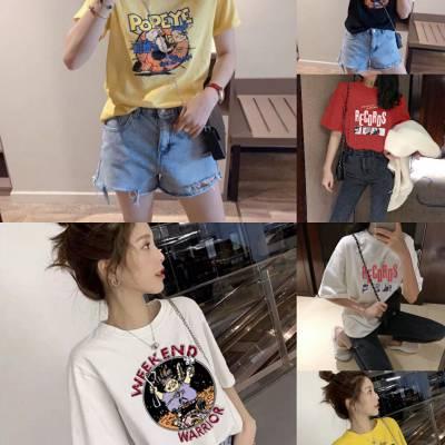 杭州新款夏款女装T恤货源批发印花短袖T恤库存女装尾货清仓