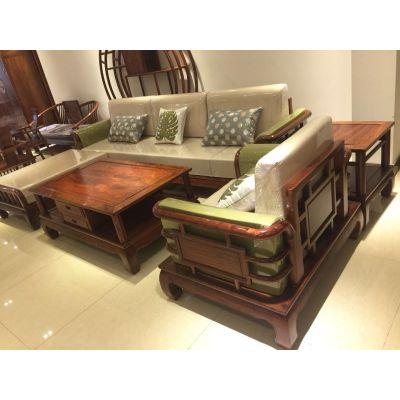 红木厂家批发花梨木新中式6件套沙发名琢世家