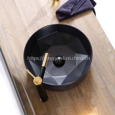 简约亚光北欧陶瓷黑色圆形新款台上洗手盆