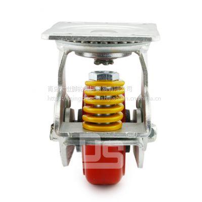 大世脚轮厂家直销 铸铁材质 弹簧防震 双弹簧减噪音 汽车零部件搬运小推车专用轮