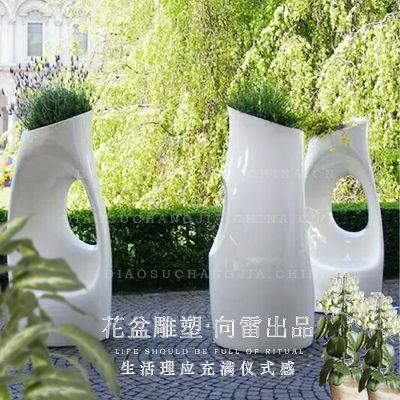 商场玻璃钢花盆 简约客厅落地花盆 大厅陈列花器 批发