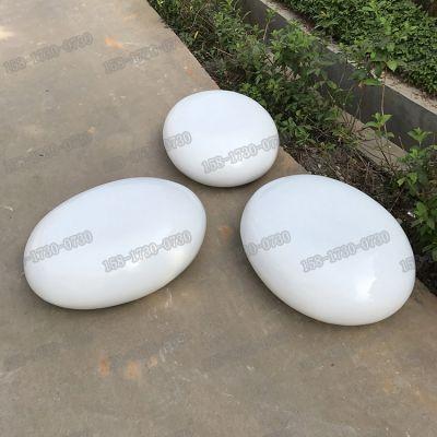 现货户外玻璃钢鹅卵石造型休闲座椅树脂纤维仿真石头雕塑绿化草地美陈雕塑