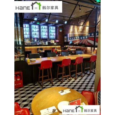 月星环球港美式餐厅吧桌椅 美式西餐厅吧桌椅订做 上海韩尔品牌