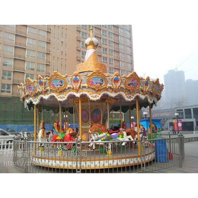 16座ZBL-XZHHZM豪华转马郑州游乐设备安装成功 效果漂亮客户满意