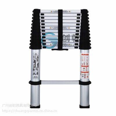 广东创乾单面直梯创乾安全梯铝合金梯子4.9米稳固伸缩梯CQH-4.9M升缩梯子