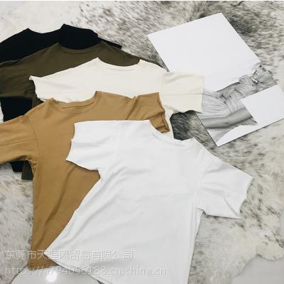 2018新款夏季纯棉女式T恤圆领印花短袖韩版宽松大码女装时尚女装货源批发2-3元