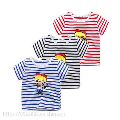 厂家直销批发童装条纹t恤儿童短袖体恤衫 短袖圆领童男女青岛童装