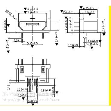 防水 MICRO USB B型TYPE 板上型母座 过3A电流 防水等级IP66