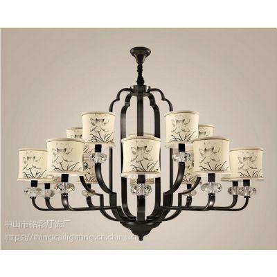 中式木头灯羊皮灯布艺灯