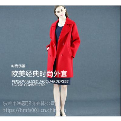 服装批发厂家直批冬季新款时尚中长款外套 韩版西装领双排扣女士毛呢大衣便宜服装
