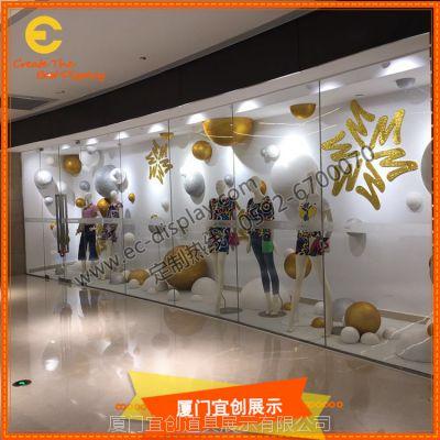秋冬季雪花橱窗陈列道具订制 橱窗雪花圣诞球展示道具制作