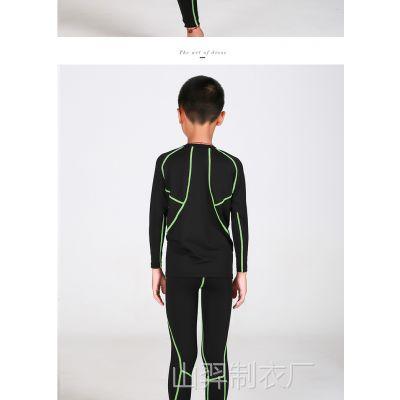运动户外运动休闲服装运动休闲套装长袖童装瑜伽服健身厂家订做
