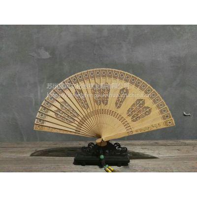 柏木雕刻镂空扇子女士用扇子