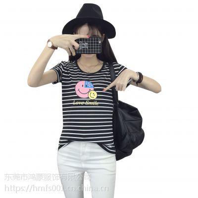 广西梧广州牛仔批发便宜女装夏季短袖批发韩版T恤批发尾货T恤