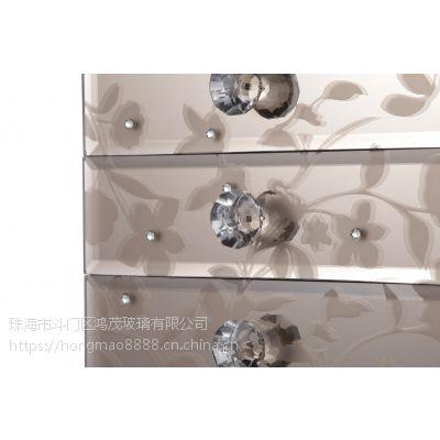 简约现代饰品首饰花纹收纳盒茶色玻璃收纳盒装饰盒桌上首饰盒