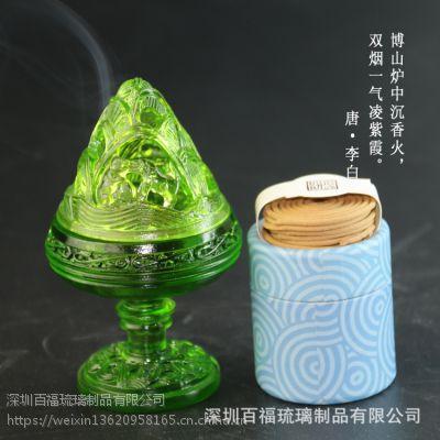 供应2017新款古法琉璃高脚博山炉内径3.9cm盘香香炉送防火棉
