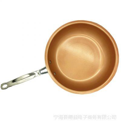 Red Copper Fry Pan不粘锅 Gotham Steel平底锅复底 支持电磁炉