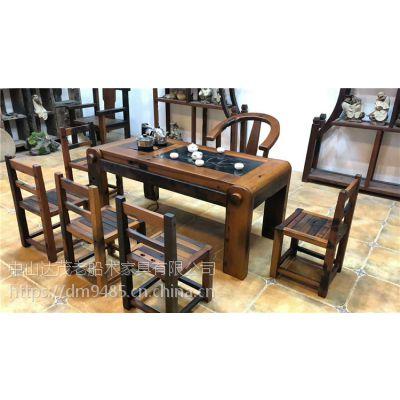 老船木个性茶桌组合船木茶台功夫茶几茶桌椅阳台实木小茶艺桌休闲